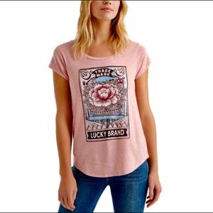 Lucky Brand Retro Floral Graphic Tee Shirt.
